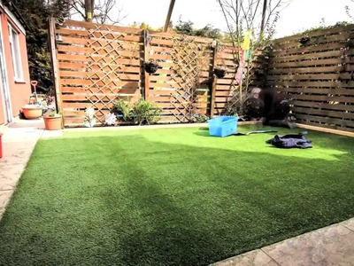 DIY How to lay an artificial grass lawn turf - Timelapse with music HD