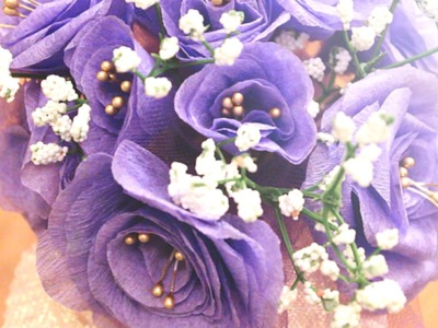 DIY - How to Make Lavender Purple Crepe Paper Flowers in Under 5 Minutes