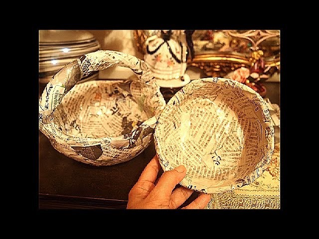 Newspaper recycling. How to make solid Basket and Bowl. part 1