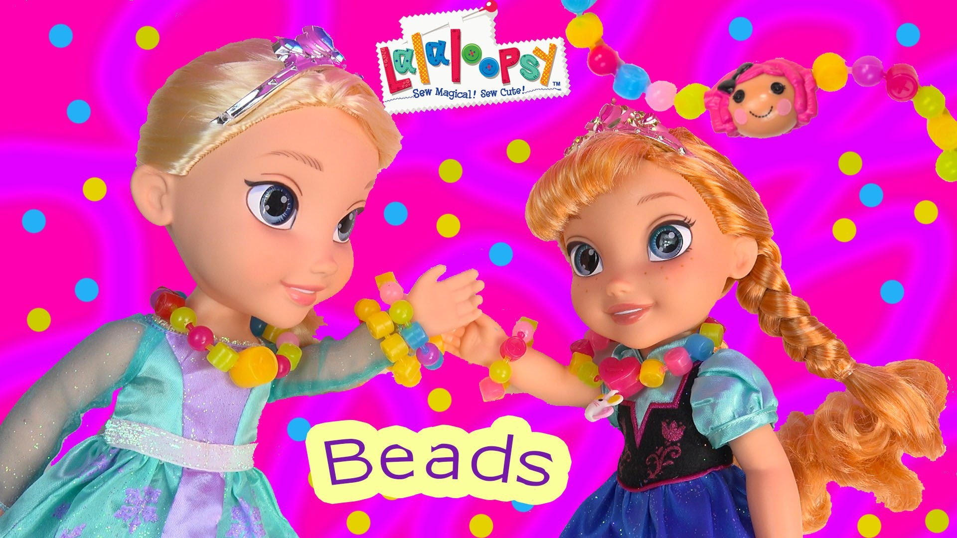 Queen Elsa Princess Anna Lalaloopsy Pop Beads Crumbs Sugar Cookie Disney Frozen Toddlers Necklaces