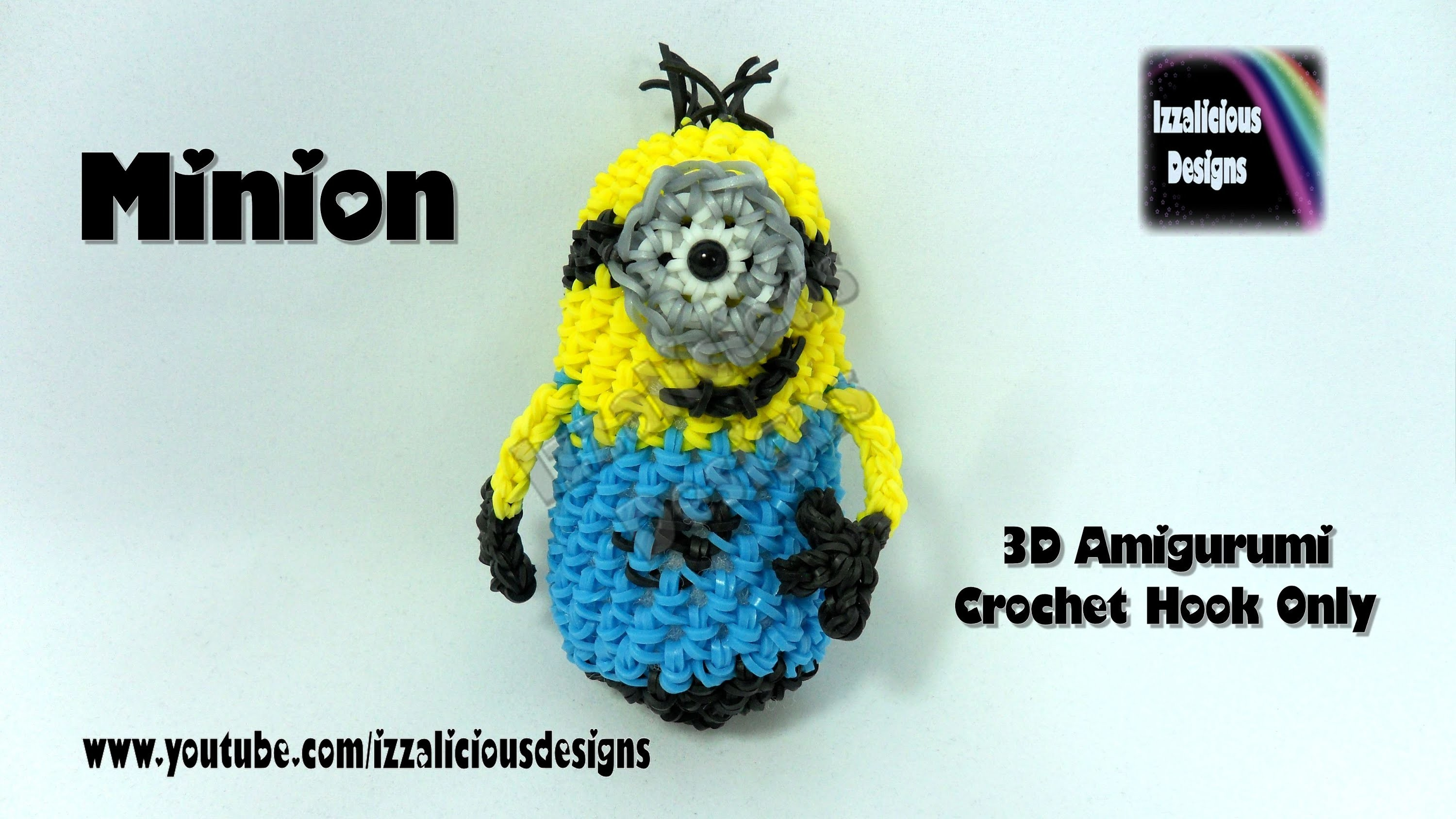 Rainbow Loom 3D Amigurumi Minion Action Figure.Doll.Charm - Loom-less.Hook Only.Crochet