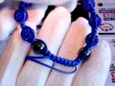Shamballa Bracelet, Blue Czech Crystals, Real Hematite Beads, Blue Cord | TheMerchantsCabin.com