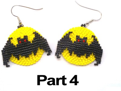 Beading4perfectionists : Halloween Full Moon Bat earrings beading tutorial #4