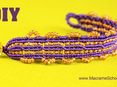 DIY Macrame Bracelet with Two Crisscrossing Lines and Golden Beads