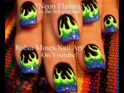 Easy Nail Art Designs | DIY Neon Flames Nails Tutorial