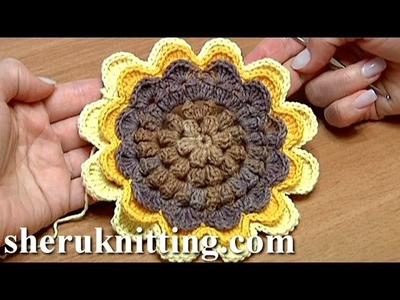 Sunflower Crochet Tutorial 48 Part 1 of 2 tuto fleur au crochet