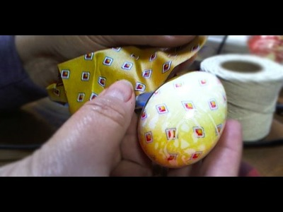 DIY Learn How to Dye Easter Eggs with Silk Tie or Scarf - Egg Ties Tutorial by Valerie Jurkowski