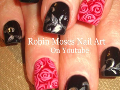 DIY Nail Art | Easy Nail Designs For Beginners | Red and Black Roses Tutorial