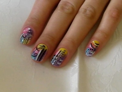 D.I.Y. NAIL ART TUTORIAL: PURPLE PINK YELLOW WHITE BLUE Abstract Nails #1