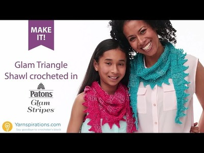How to Crochet the Patons Glam Stripes Sawtooth Kerchief