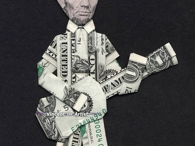 Money Origami Abe Lincoln Playing Guitar - Dollar Bill Art