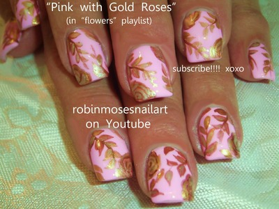Nail Art Tutorial | DIY Vintage Gold Rose on Light  Pink Nail Design