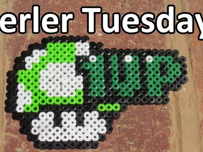 PERLER BEAD: 1UP Mario Mushroom! (Giveaway #63) Tutorial & How To