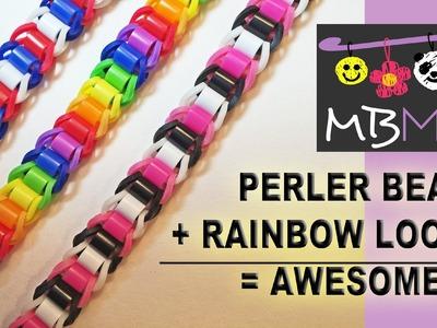 Perler or Hama Beads + Rainbow Loom Bands = Awesome NEW Bracelet!