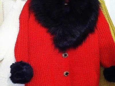 Red crochet sweater jacket, and  crochet poncho,see viewer's results!  How to diy.