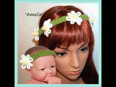 Amelia Daisy Chain Flower Headband DK Yarn Knitting Pattern