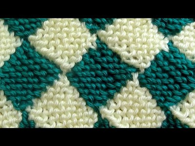 Como Tejer ENTRELAC Diamantes-How to Knit Entrelac-2 agujas(248)