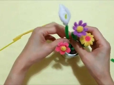 Craft tutorial -DIY pipe cleaner flower (part 3) 毛根小花3