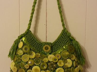 #Crochet Button Collage Handbag Purse #TUTORIAL DIY PURSE how to crochet a handbag