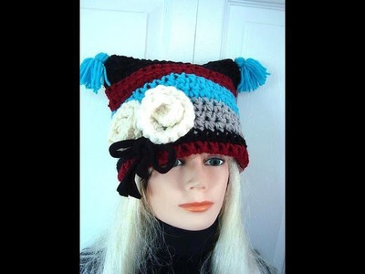 CROCHET  FLAT TOP COLOR BLOCK MIMI HAT, how to diy, easy hat