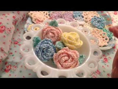 Crochet Roses, leaves & mini doilies
