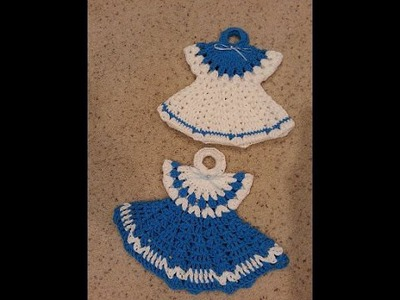 Crochet Vintage Granny Easy Dress Hot pad Potholder Anne's Style DIY Tutorial