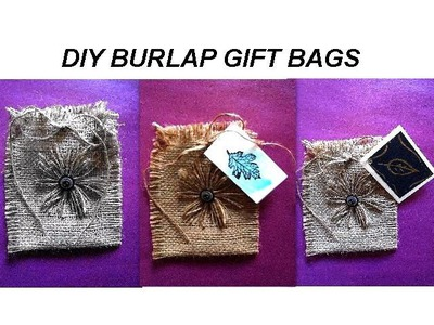 DIY BURLAP GIFT BAGS, jewelry bag, craft show bags