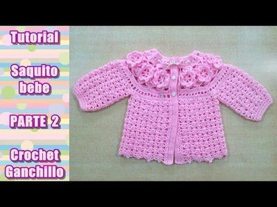 DIY Como tejer saquito, sueter, chaqueta, chambrita para bebe en crochet, ganchillo (2.4)