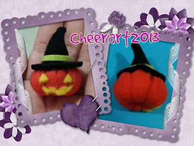 Diy felt craft halloween pumpkin charm tutorial不織布萬聖節南瓜手工教學