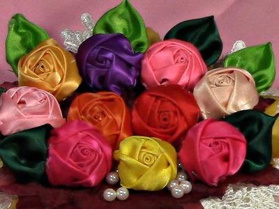 DIY, Learn How to Make Rose Bud, Tutorial, Flores en cintas