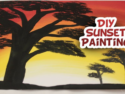 DIY Sunset Silhouette Painting {EASY}  - Whitney Crafts