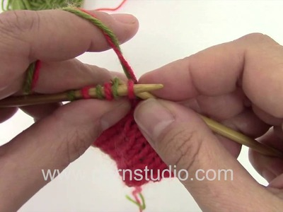 DROPS Knitting Tutorial: bind off with two colors in double knitting