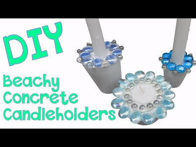 Easy Beachy Concrete Candleholders DIY   Craft Klatch Concrete Crafting Series