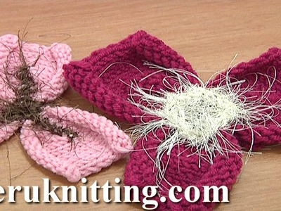 Free Knitting Flower Patterns Tutorial 21 Easy to Knit 3-Petal Flower