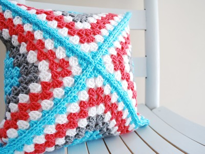 How to Crochet a Pillow Left Handed: Retro Granny Square Pillow
