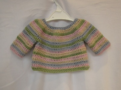 How to crochet a simple striped baby. child's sweater tutorial - part 1