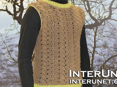 How to crochet a sweater vest for a man - sleeveless sweater crochet pattern