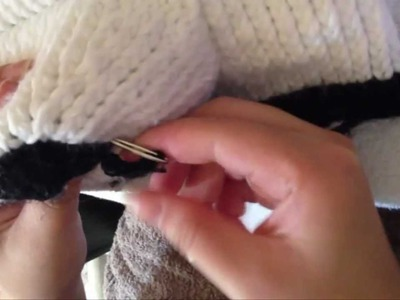 How to Knit Panda Hat Step by Step Tutorials (Part 2: The Nose)