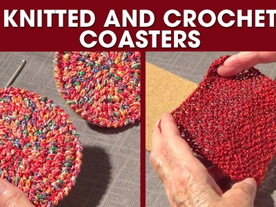 Knitted and Crochet Coasters- DIY Gift #2 -Round and Square