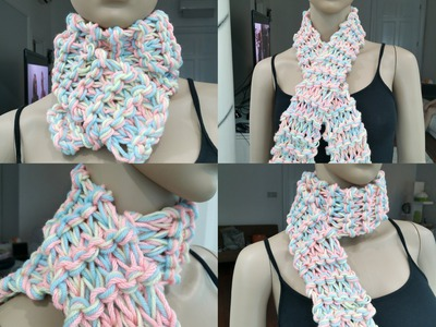 Knitting Easy Scarf (pastel colour)