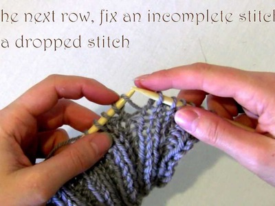 Knitting How to fix an accidental increase that is an incomplete stitch