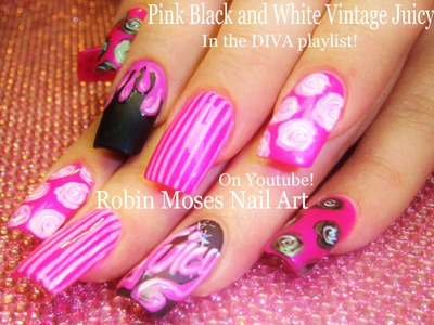 Nail Art Tutorial | Vintage Diva Nails | Pink Black and White Nail Design