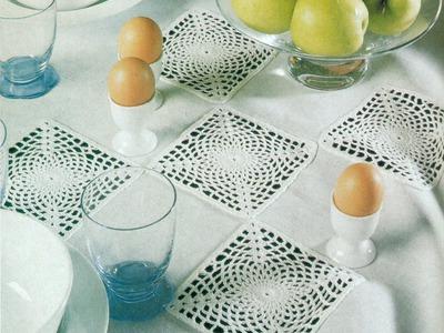 Patrón Para Tejer Mantel con Cuadros a Crochet