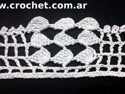 Puntilla N° 46 en tejido crochet tutorial paso a paso.