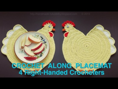 SUPER CUTE - Crocheted Kid's Chicken Placemat (4 Righties)