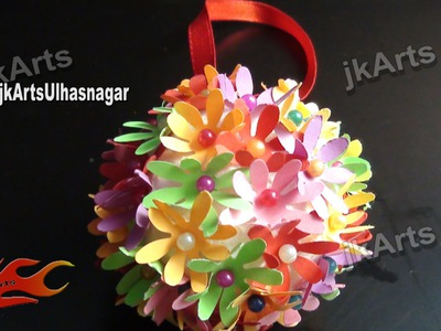 Thermocol Crafts - How to make a flower ball - JK Arts 381