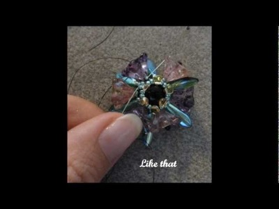 Beading tutorial - Flower bouquet component with daggers, drops, glass flowers and seed beads