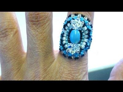 Beading4perfectionists : Index-finger ring with miyuki and Swarovski beading tutorial