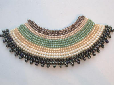 BeadsFriends: Flat Herringbone Stitch made with several sizes of beads | New Beadworks
