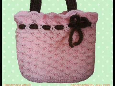 Pink Bag with bow crochet pattern by HandmadeKitty